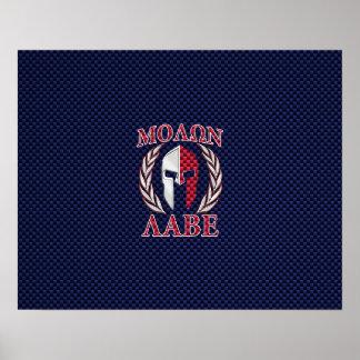 Molon Labe Spartan Warrior Carbon Fiber Style Poster