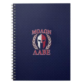 Molon Labe Spartan Warrior Carbon Fiber Style Spiral Notebook