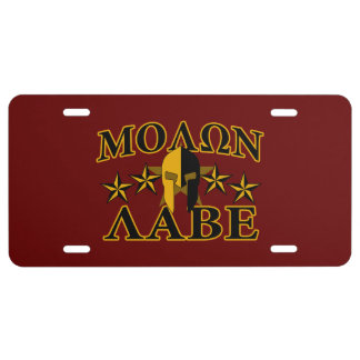 Molon Labe Spartan Warrior Golden Burgundy License Plate