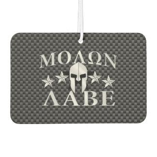 Molon Labe Spartan Warrior Helmet 5 stars Carbon Car Air Freshener