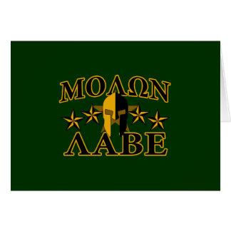 Molon Labe Spartan Warrior Helmet 5 stars Card