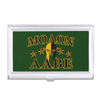Molon Labe Spartan Warrior Helmet 5 stars Case For Business Cards