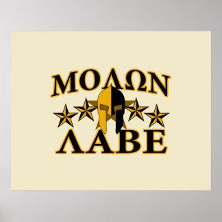 Molon Labe Spartan Warrior Helmet 5 stars Golden Poster
