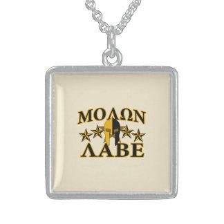 Molon Labe Spartan Warrior Helmet Golden Decor Square Pendant Necklace