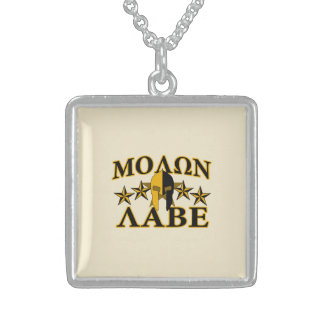 Molon Labe Spartan Warrior Helmet Golden Decor Sterling Silver Necklace