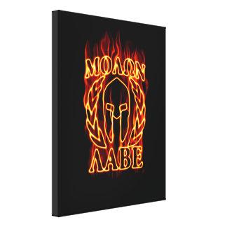 Molon Labe Spartan Warrior in Flames Canvas Print