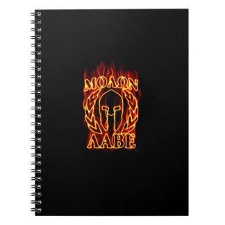 Molon Labe Spartan Warrior in Flames Spiral Notebook