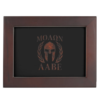 Molon Labe Spartan Warrior Iron Laurels Mask Keepsake Box