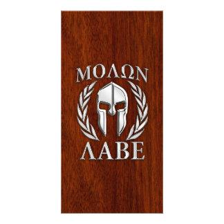 Molon Labe Spartan Warrior Laurels Chro Wood Print Card