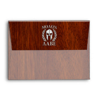 Molon Labe Spartan Warrior Laurels Chro Wood Print Envelope