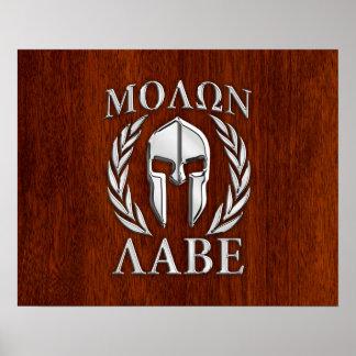 Molon Labe Spartan Warrior Laurels Chro Wood Print Print