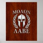 Molon Labe Spartan Warrior Laurels Chro Wood Print Poster