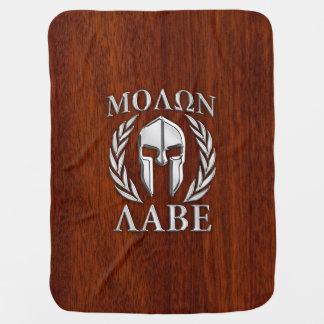 Molon Labe Spartan Warrior Laurels Chro Wood Print Receiving Blanket