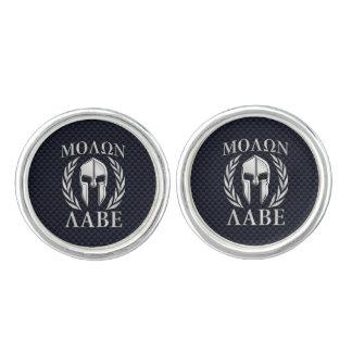 Molon Labe Spartan Warrior Laurels Chrome Print Cufflinks
