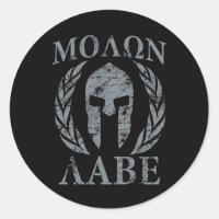Molon Labe Spartan Warrior Laurels Classic Round Sticker