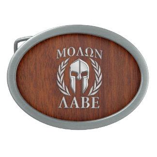 Molon Labe Spartan Warrior Laurels Mahogany Print Belt Buckle