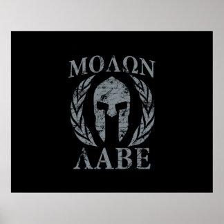 Molon Labe Spartan Warrior Laurels Poster