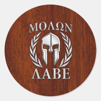 Molon Labe Spartan Warrior Laurels Wood Decor Classic Round Sticker