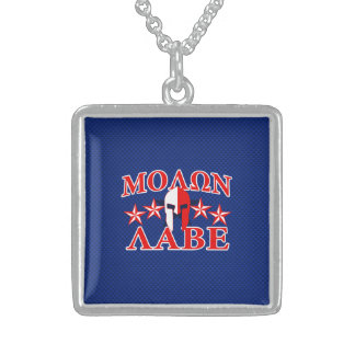Molon Labe Spartan Warrior Mask 5 stars Patriot Sterling Silver Necklace