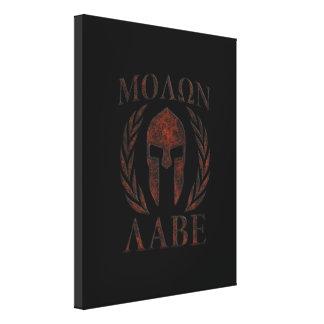 Molon Labe Spartan Warrior Mask Laurels Iron Canvas Print