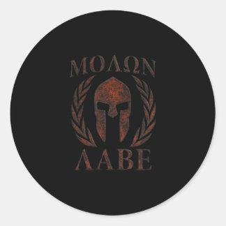 Molon Labe Spartan Warrior Mask Laurels Iron Classic Round Sticker