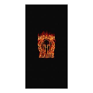 Molon Labe Spartan Warrior on Fire Photo Card Template