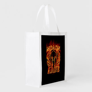 Molon Labe Spartan Warrior on Fire Reusable Grocery Bags