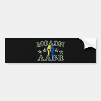 Molon Labe Spartan Warrior Yellow Blue Decor Bumper Sticker