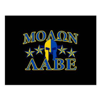 Molon Labe Spartan Warrior Yellow Blue Decor Postcard