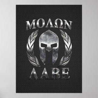 Molon Labe Steel Spartan Helmet on Carbon Fiber Poster