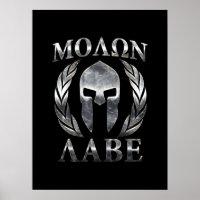 Molon Labe Steel Spartan Helmet Poster