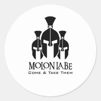 MOLON LABE Triple Threat words Classic Round Sticker