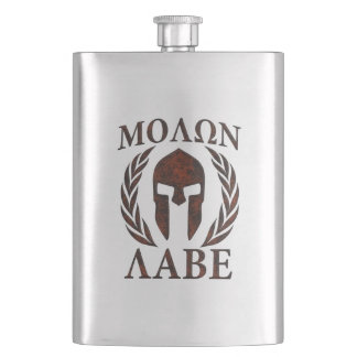 Molon Labe Warrior Laurels Iron Mask Hip Flask