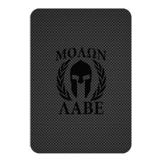 Molon Labe Warrior Laurels on Black Carbon Card