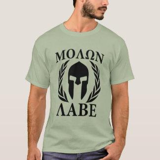 Molon Labe Warrior Laurels on Black Carbon T-Shirt