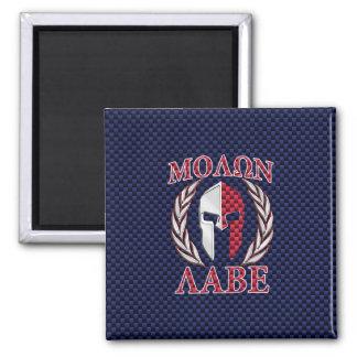 Molon Labe Warrior Mask Blue Carbon Fiber Print Magnet