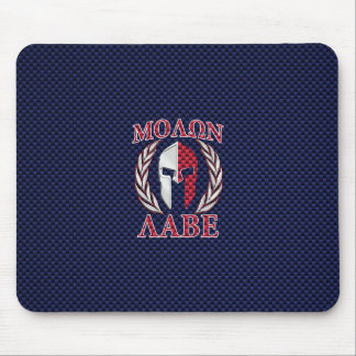 Molon Labe Warrior Mask Blue Carbon Fiber Print Mouse Pad