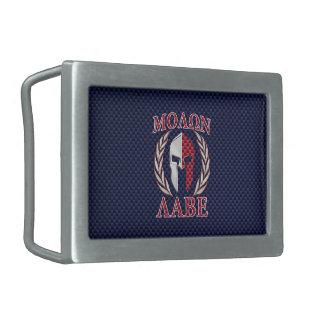 Molon Labe Warrior Mask Blue Carbon Fiber Print Rectangular Belt Buckle