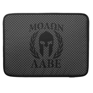 Molon Labe Warrior Mask Laurels Carbon Fiber Like MacBook Pro Sleeves