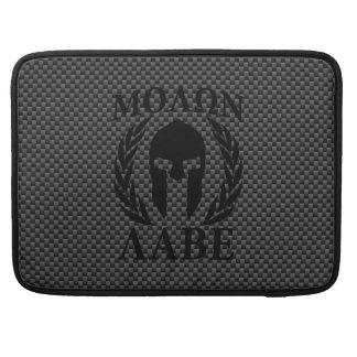 Molon Labe Warrior Mask Laurels Carbon Fiber Like Sleeve For MacBook Pro