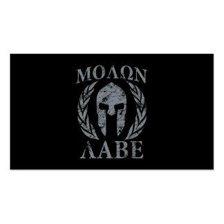 Molon Labe Warrior Mask Laurels on Black Business Card