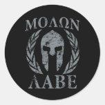 Molon Labe Warrior Mask Laurels on Black Classic Round Sticker
