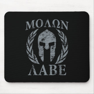 Molon Labe Warrior Mask Laurels on Black Mouse Pad