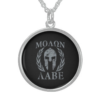 Molon Labe Warrior Mask Laurels on Black Sterling Silver Necklace