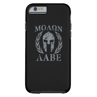 Molon Labe Warrior Mask Laurels on Black Tough iPhone 6 Case