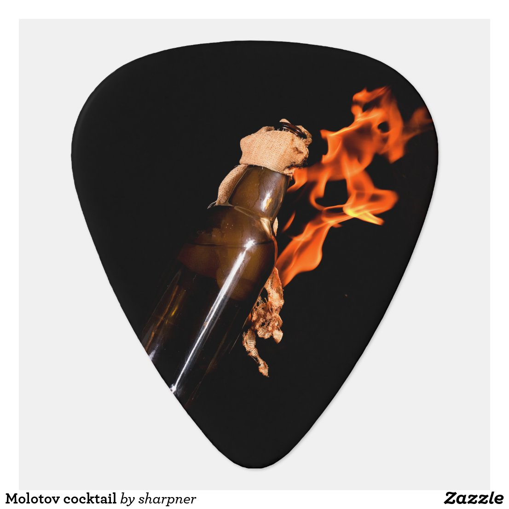 Molotov cocktail guitar pick