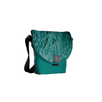 MOLTEN BLUE AQUA MELTED METAL DIGITAL ABSTRACT RAN COURIER BAGS