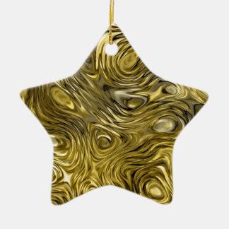 "Molten ""Gold"" print ornament star"