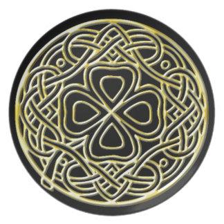 Molten Gold Shamrock Black Melamine Plate