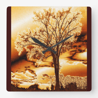 Molten Gold Tree of Life Wall Clock